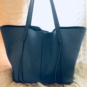 Rebecca Minkoff Blue Pebbled Leather Tote Handbag